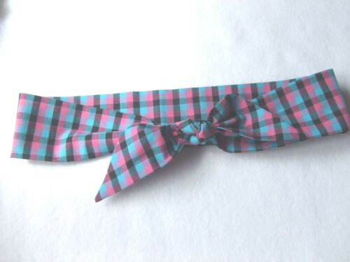 Blue Black Check Head Wrap Pink Fabric hair tie self tie headwrap