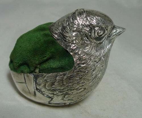 Large Antique Silver Sampson Mordan Silver Chick Pin Cushion 110g 6.4cm A695717