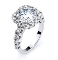 Ladies 14k White Gold Bridal Engagement Halo Ring with 25 Simulated Diamonds