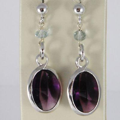 Liberal Boucles D'oreilles En Argent 925 RhodiÉ Avec Zirconia Purple Cubique Et Jewelry & Watches Fine Earrings