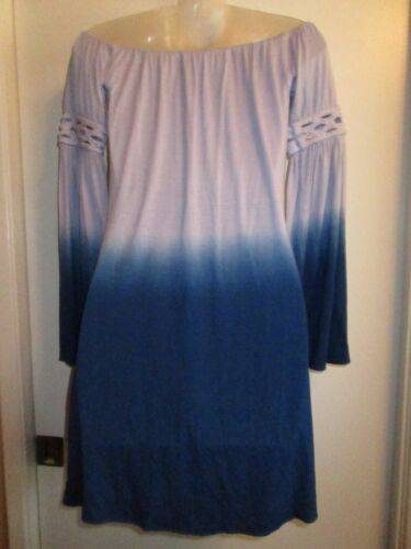 Sky Clothing Brand NWT Dress Tie Dye Ombre Mini Off Shoulder Braided Bright Blue