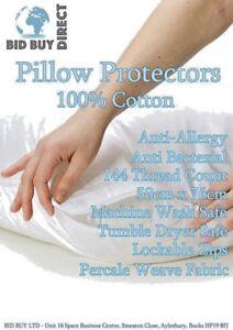 4-Oreiller-Protecteurs-Zippe-100-coton-blanc-couvre-anti-allergie-aux-acariens-Proof