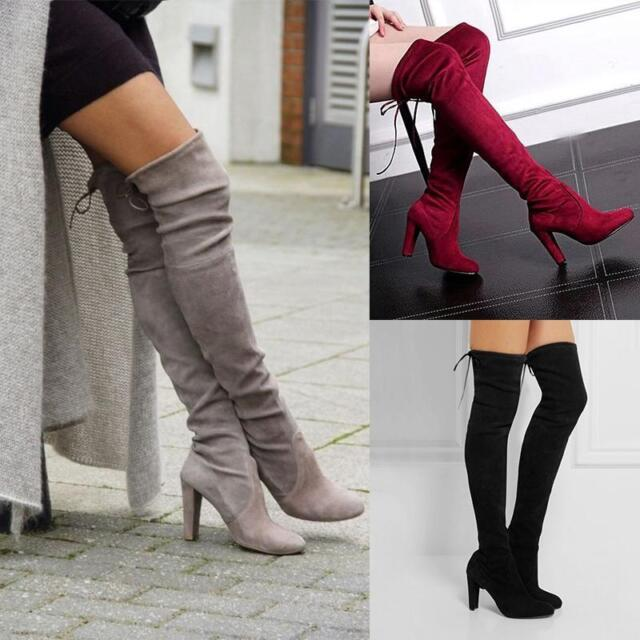 WOMENS LADIES BLOCK HIGH HEEL TASSEL SMART OVER THE KNEE THIGH HIGH BOOTS SIZE