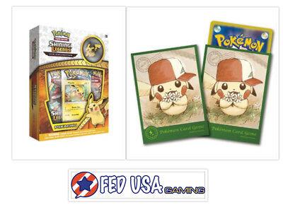 Pokemon Shining Legends Pikachu Pin Collection Box Pikachu Card Sleeves Bundle