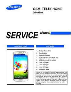 Samsung galaxy s4 i9500 service repair technical manual all levels.