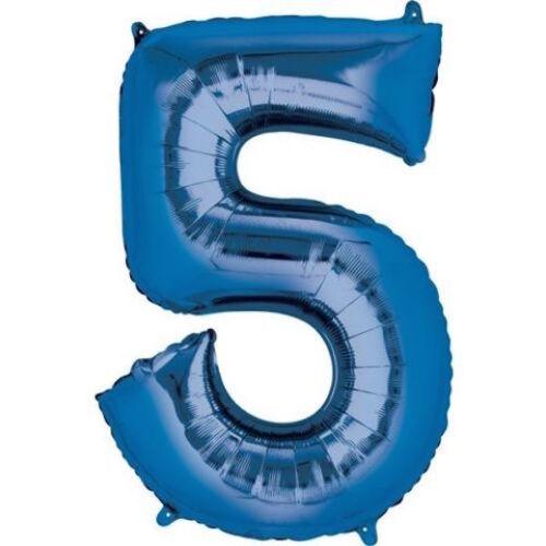 """* 16/"""" Bleu Chiffre 5 Cinq Air Rempli Foil Ballon Fête D/'Anniversaire Décoration 5TH"""