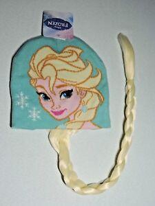 Disneys Frozen Girl/'s cap Elsa Knit Winter Beanie Hat with blonde hair braid