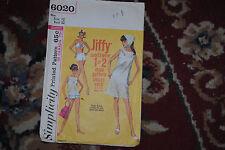 Vintage Simplicity Sewing Pattern sz 12 Beach dress, 2-piece bathing suit, 1965
