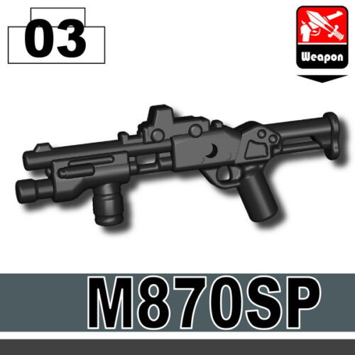Black M870SP Shotgun SWAT for LEGO army military brick minifigures
