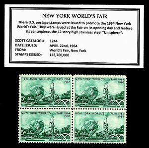 1964-NEW-YORK-WORLD-039-S-FAIR-Mint-NH-Block-of-Four-Vintage-Postage-Stamps
