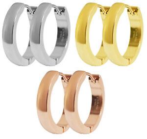 20mm Klapp Creolen Edelstahl Damen Herren glänzend Ohrringe Roségold Silber Gold