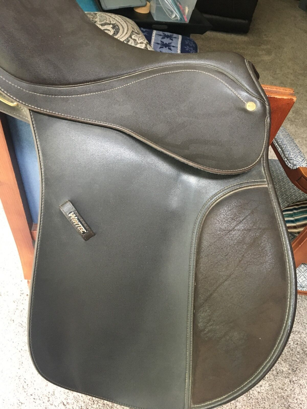 Lightly,Used Wintec, English Saddle, All Purpose, Dark Brown, 16.5