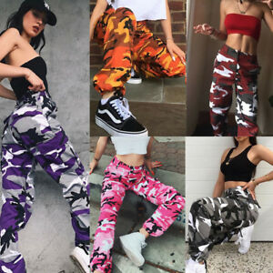 9ff4142c5f01b Image is loading Womens-Loose-Cargo-Trousers-Military-Combat-Camouflage- Jogger-