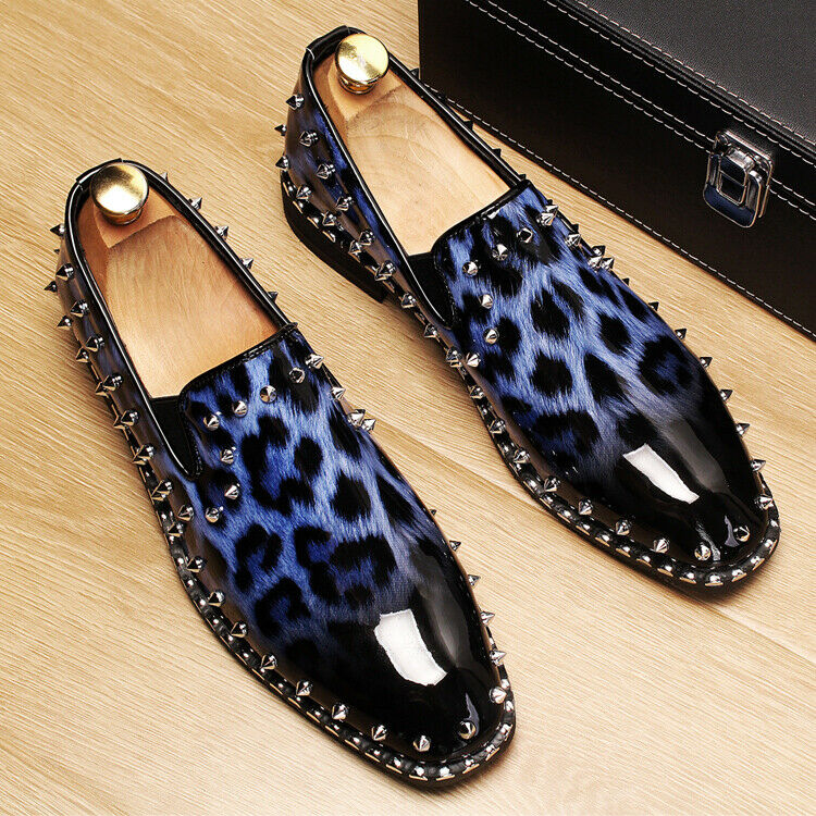 Fashion Mens Patent Patent Patent Leather Rivet Slip On shoes Leopard Dress Casual Club Loafer 905b5a