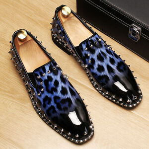 Mens Party Leather Leopard Rivet Tassels Slip On Dress Formal Shoes NEW Loafers
