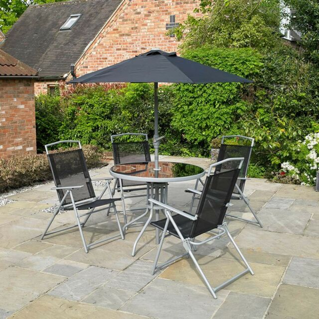 Garden Patio Black Furniture Set 6pc 4 Seater Outdoor Dining Parasol Table