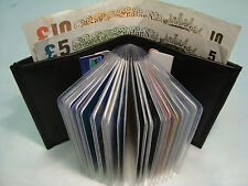 Real Soft Leather Credit Card Holder Black for 25 Cards and Paper Money Section