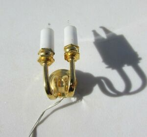 Vintage Dollhouse Light Candelabra 2 Arm Candle Electric Brass Sconce Artistian
