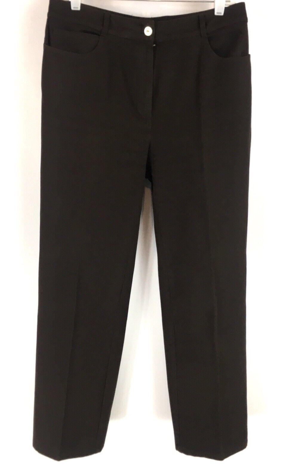 St John Sport Straight Leg Jeans Dark Brown Stretch Size 12