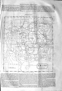 Original-Old-Antique-Print-1842-Map-China-Chinese-Empire-Mongolia-T-Victorian
