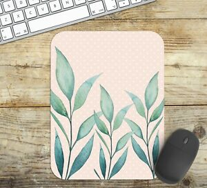 Mouse-Pad-with-Watercolour-Eucalyptus-Leaves-Non-Slip-Neoprene-Easy-Glide-Top