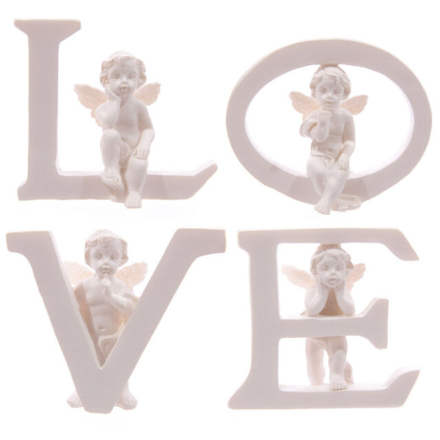 LOVE Set of Four Letters Cherub Ornaments Figures Valentines Mothers Day CHE51