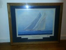 Thompson Signed Framed Yachts of America's Cup - Big Racing Cutters Print
