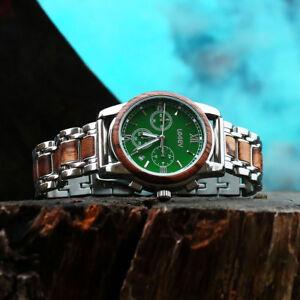 LEEEV-Wooden-Watches-for-Men-Relogio-Masculino-Steel-amp-Wood-Watch-Xmas-Gift-Men