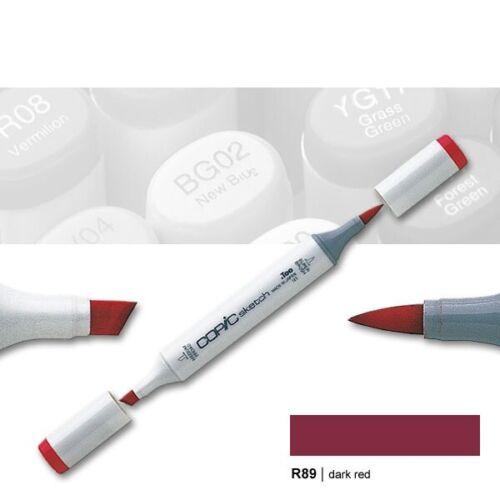Copic Sketch R89 dark red Layoutmarker mit Pinsel und Keilspitze