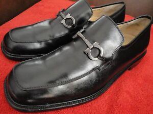 A imagem está carregando Salvatore-Ferragamo -Ticket-loafer-vestido-de-couro-preto- c0c7ea380a