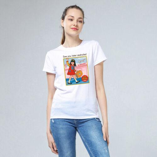 Damen Basic T-Shirt Rundhals Weiß Shirt Kurzarmshirt Devil Sommer Tee Casual DIY
