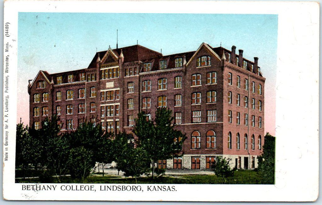 Lindsborg, Kansas Postcard BETHANY COLLEGE Main Building Printed in Germany 1906