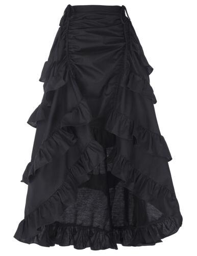 Victorian Steampunk Gothic Punk Costume Ruffles Women Maxi Skirt Long Dress New