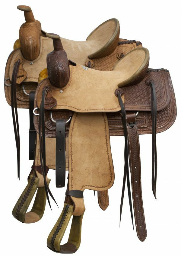 bluee River roper  saddle rough out leather and basketweave tooling 16   hot limited edition