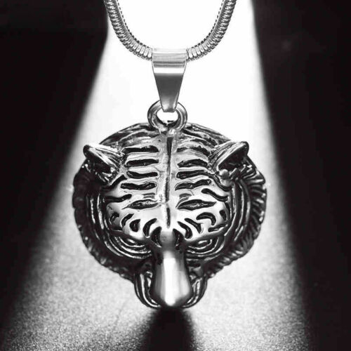 Men's Stainless Steel 18k White Gold Plated Tiger Head Necklace SN26
