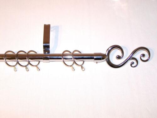19mm Polished Chrome Curtain Pole System Smooth Swirl Finials 1.2m 1.5m 2.4m 3m
