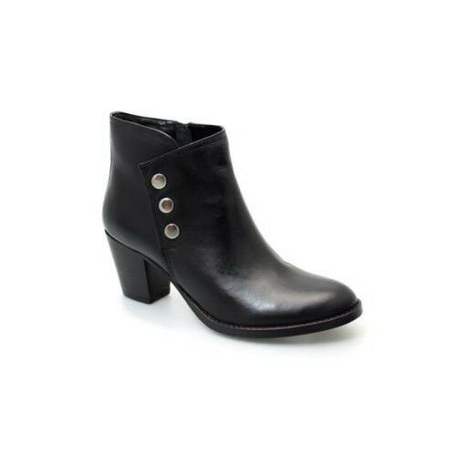 Glh464 hallow press stud real leather thick heel boots m