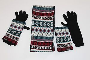 Women-039-s-Muk-Luks-Winter-Knit-Reversible-Eternity-Scarf-Gloves-and-Arm-Warmers