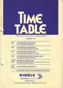 Image Is Loading Bus Timetable Ribble Bria Ulverston Barrow July 1980