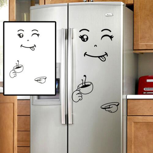 Fashion Smile Face Refrigerator Vinyl Wall Stickers for Fridge Kitchen Bathroom
