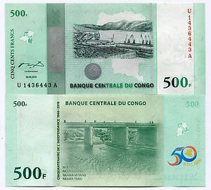 Congo 2010 500 Francs New Uncirculated Banknote X 10 Piece Lot P100