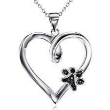 Anhänger Pfote schwarze Hundepfote im Herz Sterling Silber 925 mit Kette