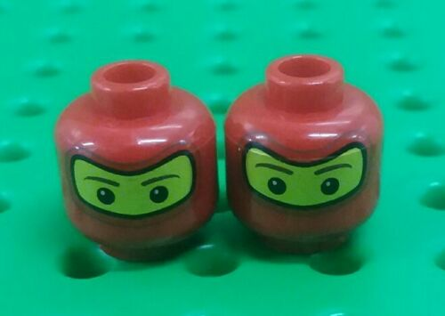 2 pieces *NEW* Lego Red Racing Car Driver Ninja Face Heads for Figs Minifigs