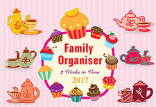 2017 family organiser planner Tea Cup-Cake calendar - two week to view - CL-0674