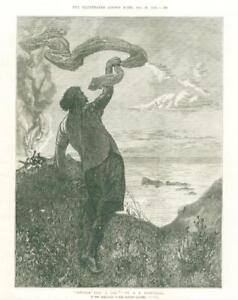 1874-Antique-FINE-ART-Print-Sindbad-Sees-a-Sail-Artist-Edward-Brewtnall-87