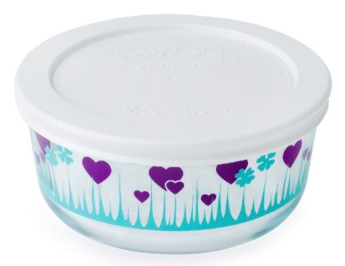 Pyrex 2-Cup Red LUCKY in LOVE or Purple MIDNIGHT GARDEN Bowl Hearts /& Shamrocks