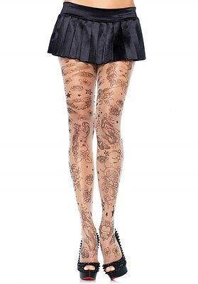 BNWT Sassy Leg Avenue Sheer Tattoo Print Tights, Nude, One Size