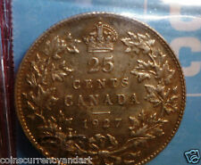 1927 Canada 25 Cents Beautiful SCARCE Coin 3rd lowest mintage 1911-1952 King Era