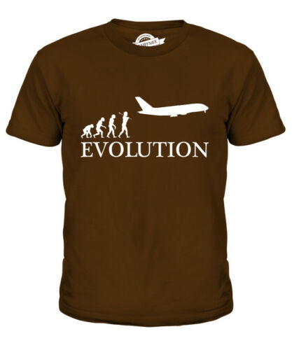 AIRPLANE EVOLUTION OF MAN KIDS T-SHIRT TEE TOP GIFT MILITARY NAVY