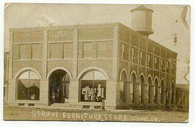 Geddes SD Struve Furniture Store C1910 RPPC Postcard   South Dakota